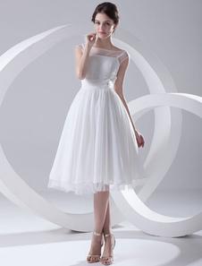 Image of Abito da sposa bianco chiffon con collo basso a-linea al polpaccio