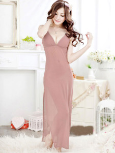 Pink Tea Length Acrylic Split Womens Sexy Dress