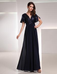 Image of Abbigliamento da sera con collo a V e paillette in chiffon blu m
