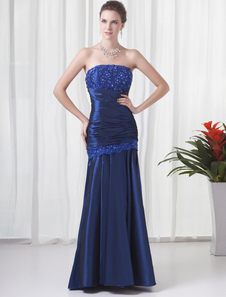 Image of Royal Blue Taffeta Beading Strapless Prom Dress