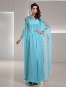 Chiffon Mother Of The Bride Dress 2 Piece Turquoise Ankle Length Wedding Party Dress