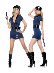 Two Tone Cop Costume For Halloween Sexy V Neck Costume Cosplay