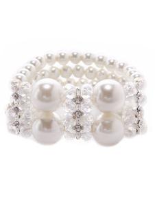 Ivory Imitated Pearl Metal Bridal Bracelet