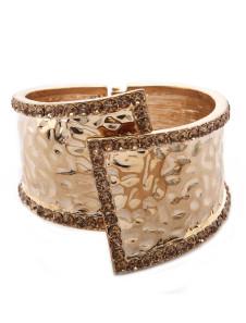 Deluxe Gold Metal Bridal Wide Bracelet