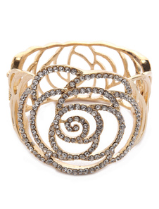 Charming Gold Flower Cut Out Metal Women's Wedding Bracelet