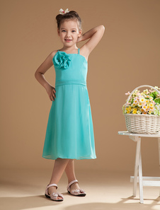 Sweet Sky Blue Chiffon Flower Decoration Flower Girl Dress