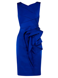 Blue Jewel Neck Cascading Ruffle Acetate Bodycon Dress For Women