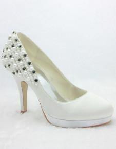 Chic White Satin Pearls Rhinestone Wedding Shoes