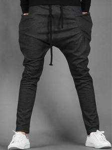 Image of Pantaloni 2018 con fodera pantalone affusolato harem stile coulisse Uomo Nero