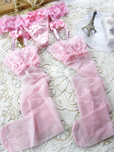 Image For Sexy Pink Bow Patterned Womens Lace Garter Belt With Thong and Stocking