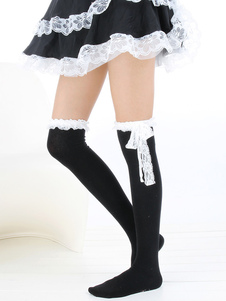 Bow Decorated Knitted Cotton Blend Lolita Knee High Socks
