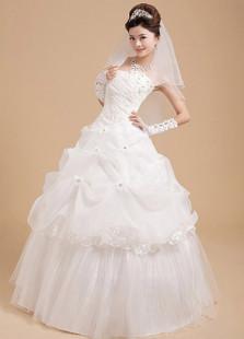 Белый шар Rhinestone бальное платье из органзы свадебное платье свадьба