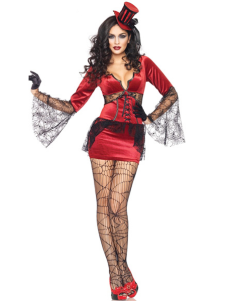 Sexy Red Lace Decorated Velvet Halloween Witch Costume