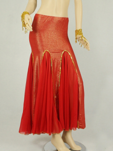 Red Mermaid Trumpet Chiffon Sexy Belly Dance Long Skirt