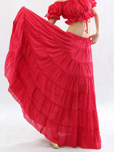 Bohemian Red Cotton Attractive Belly Dance Long Skirt
