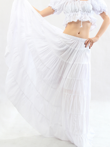 Bohemian White Cotton Attractive Belly Dance Long Skirt