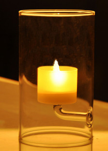 Transparent Cylindershaped Glass Made Elegant Candlestick