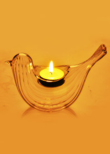 Inventive Bird Shape Designed Stripy Glass Made Candlestick