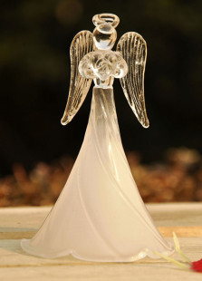 Dull Polish Glass Angel Table Centerpiece