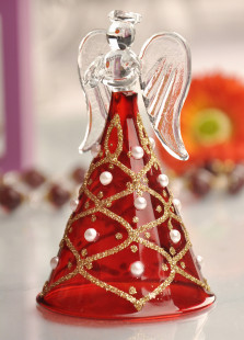 Red Pearl Rhinestone Angel Table Centerpiece