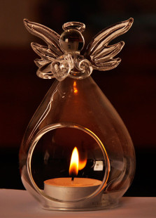 European Style Crystal Angel Designed Glass Made Candlestick