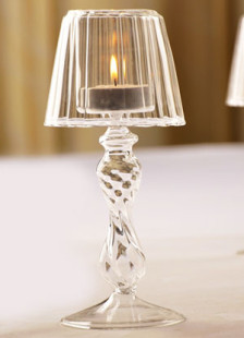 Romantic Crystal Desk Lamp Designed Stripy Glass Made Candlestick