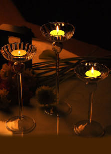 European Style Strip Designed High Slimlegged Glass Candlestick Set