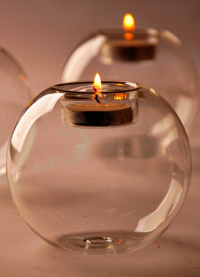 European Style Round Heatresistant Glass Made Candlestick