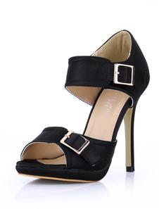 Sandali alla moda neri sexy con bottoni in pelle con tacco da 12cm