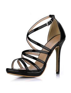 Sandali alla moda sexy metallici in PU