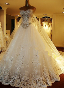 Glittery White Strapless Applique Tulle Wedding Dress For Bride
