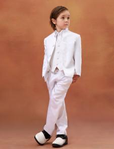 """""""Traje blanco del muchacho de portador del anillo de los niños chaqueta pantalones chaleco desgaste formal 3 piezas trajes esmoquin para la boda"""