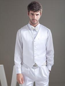 Chaleco de novio de satén blanco con botones