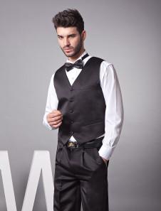 modern-black-satin-buttons-v-neck-tailored-groom-vest