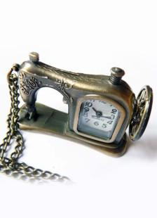 Retro Bronze Sewing Machine Shape Alloy Pocket Watch