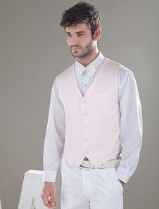 modern-pink-satin-buttons-v-neck-tailored-wedding-groom-vest