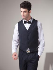 Chaleco de novio de lana negra con botones