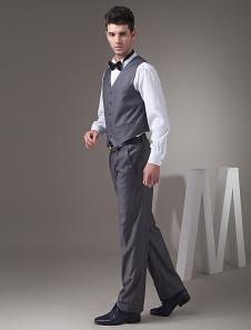 Chaleco de novio de sarga gris de estilo chic