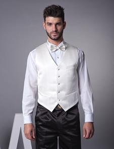 Chaleco blanco de novio de seda elástica