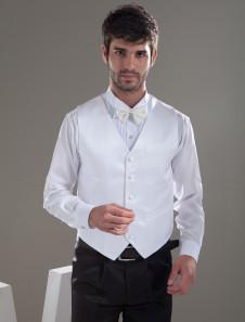 Chaleco de novio de satén blanco con botones con cuello en V