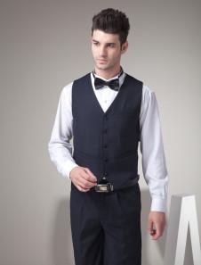 Chaleco de novio de lana negra con botones de alta calidad