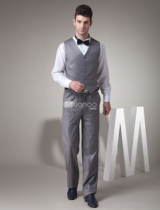 Chaleco de novio de sarga gris con botones