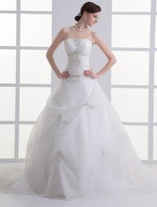 Image of Abito da sposa avorio in tulle senza spalline da ballo con strascico