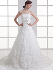 Ivory Aline Strapless Beading Tulle Wedding Dress