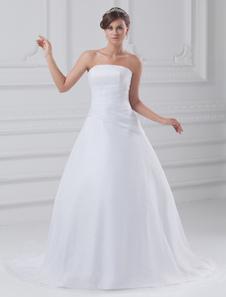 White Ball Gown Strapless Tiered Organza Brides Wedding Dress