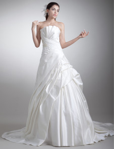 Image of Abbigliamento da sposa avorio satin senza spalline vestito da ballo strascico