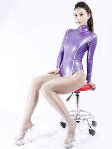 Purple Latex Catsuit Sexy Half Length Bodysuit