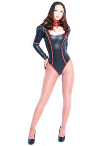 Black Latex Catsuit Long Sleeves Half Length Bodysuit