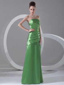 Chic Green Tiered Strapless Fashion Evening Dress