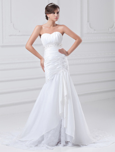 white-mermaid-beading-taffeta-wedding-dress-for-bride